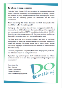 Letter for your youth club corporate colours